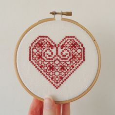 A blackwork sampler with a difference! This design was inspired by a tudor silk embroidery where each heart contained a different flower. I adapted the heart-shaped framework and turned it into a blackwork sampler with a different pattern in each heart.  This pattern also contains the option of stitching one heart on its own to create a small gift or greeting card – perfect for Valentines or weddings!  DESIGN DETAILS • Stitch count: 103 x 127 • Size on 25-count fabric: 8.3 x 10.2 inches (21…
