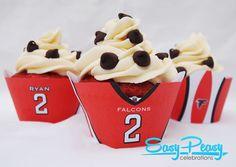 "Atlanta Falcons Cupcake Set.  ""Matty Icing"" Red Velvet Cupcakes.  #RiseUp #Falcons @Atlanta Falcons"
