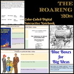 Great for differentiation, these notebook pages engage students in culture and politics of the 1920s.  Big ideas, video suggestions included..