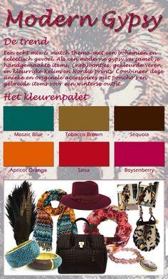"""""""Modern Gypsy""""    Een echt mix & match thema met een bohemien en eclectisch gevoel. Als een moderne gypsy verzamel je handgemaakte items, (nep)bontjes, gekleurde veren en kleurrijke Kelim en Nordic prints. Combineer deze unieke en originele accessoires met poncho's en gebreide items voor een winterse outfit."""