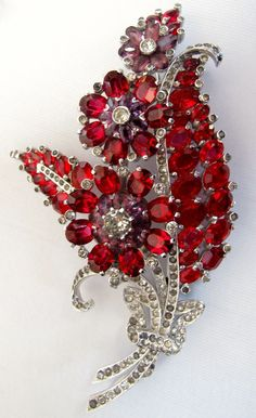 Mazer Red Purple Floral Rhinestone Pin Brooch 1940's Lee Caplan Vintage Collection Exclusively on Ruby Lane
