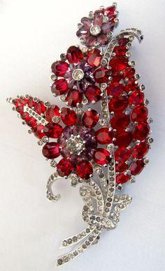 Mazer Red Purple Floral Rhinestone Pin Brooch 1940's