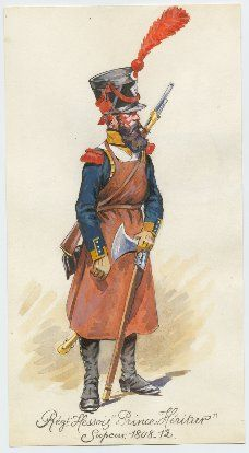 Grand Duchy of Hesse; Erbprinz Regiment of Infantry, Sapper, 1808-12 by P.A.Leroux
