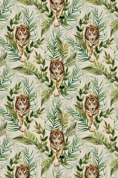 A beautifully drawn wallpaper design of a majestic tiger prowling through jungle foliage. Leopard Print Wallpaper, Wild Animal Wallpaper, Coral Wallpaper, Harlequin Wallpaper, Tiger Wallpaper, Graphic Wallpaper, Playroom Wallpaper, Hall Wallpaper, Designer Wallpaper Uk