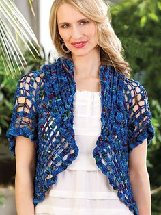 Very pretty shrug pattern, sizes from S to Made with fine sport weight yarn and H crochet hook. Bolero Pattern, Crochet Shrug Pattern, Crochet Poncho, Crochet Scarves, Wrap Pattern, Crochet Clothes, Knit Crochet, Crochet Patterns, Crochet Shawls And Wraps