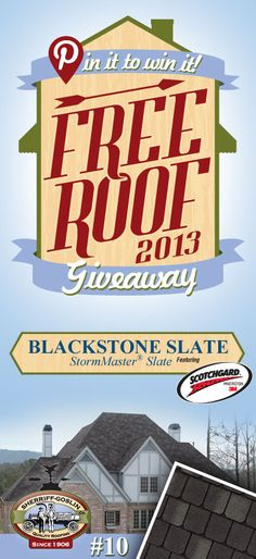 Re-pin this gorgeous StormMaster Slate Blackstone Shingle for your chance to win in the Sherriff-Goslin Pin It To Win It FREE ROOF Giveaway. Available in Sherriff-Goslin service area only. Re-pin weekly for more chances to win! | Stay Updated! Click the following link to receive contest updates. http://www.sherriffgoslin.com/repin Learn More about this shingle here: http://www.sherriffgoslin.com/tabbed.php?section_url=172