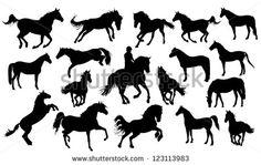 Set of vector horses silhouettes    - #DRAW #ZENTANGLE #ZENDALA #TANGLE #DOODLE #TEMPLATE #VORLAGEN
