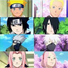 Primeiros episódios e última aparição no anime Naruto. Evolução. Naruto Uzumaki, Sasuke Uchiha, Kakashi Hatake e Sakura Haruno