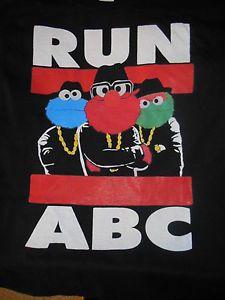 run abc shirt BRAND NEW all sizes s-xxl sesame street run dmc rap cartoon shirt