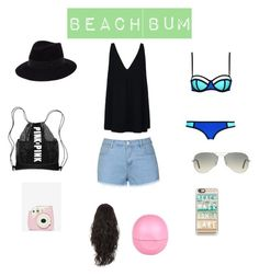 """Beach Bum"" by inspiration-m ❤ liked on Polyvore featuring STELLA McCARTNEY, Ally Fashion, Maison Michel, Ray-Ban, Casetify and River Island"