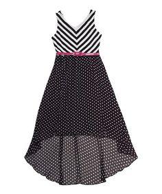 Black  White Chevron Belted Hi-Low Dress - Girls