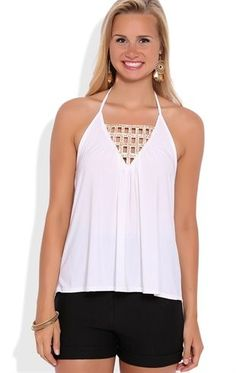 Deb Shops high low halter top with cut out gold embellished neck trim $15.75