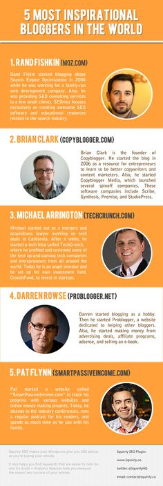 5 Most Inspirational Bloggers In The World  #Bloggers #SuccessfulPeople #infographic