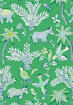 Bathroom wallpaper! GOA, Green, T88721, Collection Trade Routes from Thibaut
