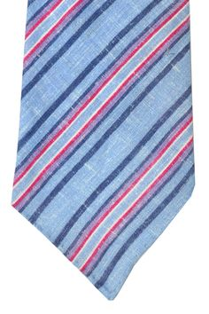 Kiton tie, linen tie with navy blue fuchsia stripes, Kiton sevenfold ties. 60% off.