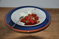Een hemels toetje, in balsamico gemarineerde aardbeien en mascarpone.