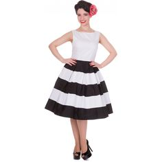 Anna Adorable Striped Swing Dress in White Black Šaty Z 50. Let e5e984375a