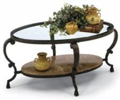 Glass And Iron Coffee Table - Foter