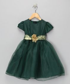 Take a look at this Hunter Green & Gold Dress - Toddler & Girls by Lida: Kids' Partywear on #zulily today!
