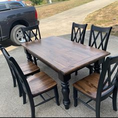 Alberta home Unfinished Farmhouse Dining Table Legs Wood Legs. Refurbished Kitchen Tables, Refinishing Kitchen Tables, Painted Kitchen Tables, Black Kitchen Tables, Stenciled Dining Table, Painted Farmhouse Table, Painted Dining Chairs, Farm Table Legs, Farmhouse Kitchen Tables