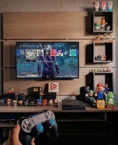 Computer Desk Setup, Gaming Room Setup, Small Game Rooms, Geek Room, Man Cave Room, Video Game Rooms, Home Office Setup, Game Room Design, Tv In Bedroom