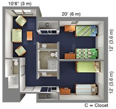Suite-Style Double in Quad: Academic Village Dorm Layout, Dorm Room Layouts, Tiny House Plans, House Floor Plans, Dorm Room Pictures, Student Bedroom, Sims House Design, Bedroom Floor Plans, College Dorm Rooms