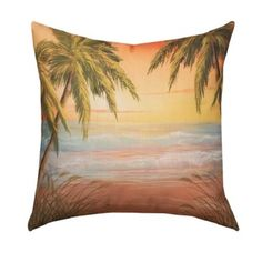 Tropical Sunset 20-inch Throw Pillow