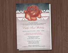 Rustic Country Rose Bridal Shower Invitations