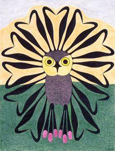 Vibrant Owl by Kenojuak Ashevak, Inuit artist (G20205)