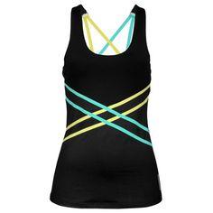 ASICS® Criss-Cross Tank with Inner Bra - Women's - Running - Clothing - Black/Wow Lime
