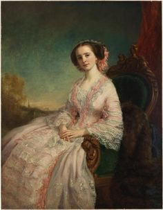 G. P. A. (George Peter Alexander) Healy (1813-1894)    Caroline Slidell Perry Belmont (Mrs. August Belmont, Sr.)   Date:  ca.1855    Seated portrait of socialite Caroline Belmont (1829-1892)         painting (visual work)        canvas    oil (paint)   H: 58 in, W: 45 in