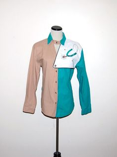 Vintage Shirt Western Turquoise and Sand by CheekyVintageCloset, $16.00