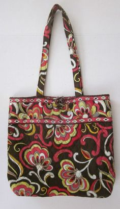010dead0cb38 Vera Bradley Retired Puccini Pattern Tote Bag Purse Brown Red Yellow White   VeraBradley  TotesShoppers