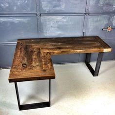 L shaped desk. Like the way they did the corner. Use 1x6, stain dark. Add shelves on long side and paint white. use industrial metal pipes for legs on short side.
