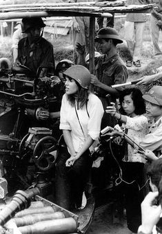 Jane Fonda with what looks like a Nikon F in 1972 at the hight of the Vietnam War. This picture (quite rightly) caused a lot of controversy at the time due to Fonda being photographed seated on an anti-aircraft battery in North Vietnam.She's since publicly stated a number of times that she regrets this photo being taken and the implications of it.Copyright: AP