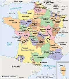Map/Still:The historical provinces of France (before 1789).
