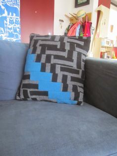 upcycled jumper cushion cover. Upcycle, Jumper, Cushions, Throw Pillows, Quilts, Blanket, Sewing, Bed, Cover