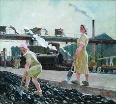 'Donbass', Tempera by Aleksandr Deyneka (1899-1969, Russia)