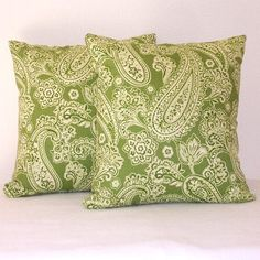 Green Paisley Accent Pillows Decorative Pillow by abellawear, $30.00