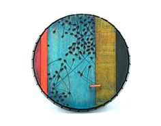 Julia Turner Brooch: Blue Swarm Wood (burned, painted), vitreous enamel, steel