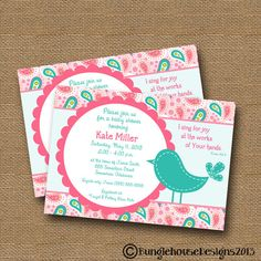 "Bird Baby Shower Invitation Baby Girl DIY PRINTABLE ""Pink  Teal Paisley"" Christian Scripture Bible Verse Card on Etsy, $14.00"