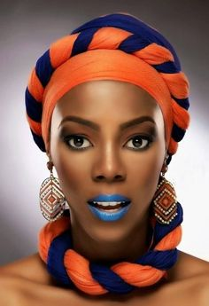 A Gele is a flat piece of fabric (typically Aso Oke (Jean-like fabric), Brocade (Starched Cotton fabric), African Print, Paper-like fabri. African Dresses For Women, African Men Fashion, African Attire, African Beauty, African Women, African Makeup, African Head Wraps, Ghanaian Fashion, Beautiful Black Women