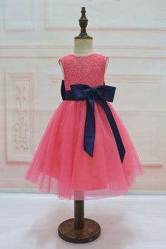 Coral Flower Girl Dresses, Bright Pink Dresses, Navy Blue Bridesmaid Dresses, Tulle Flower Girl, Tulle Flowers, Coral Dress, Coral Navy Weddings, Rustic Wedding Dresses, Wedding Ideas
