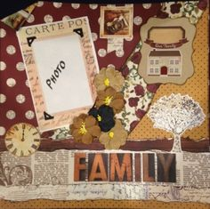 FAMILY - $15. Using Simple Stories Legacy Collection - Everything included in the kit to make this page.  Contact Deborah at kitsandbits1@gmail.com Scrapbook Layouts, Scrapbooking, Legacy Collection, Simple Stories, Step By Step Instructions, Kit, Frame, How To Make, Ideas