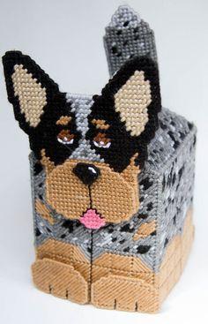 Australian Cattle Dog 3-D Tissue Topper-Plastic Canvas Pattern