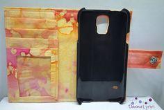 Samsung Galaxy S5 Wallet Case - Oranage Batik Print