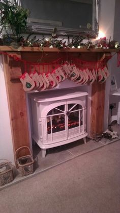 My Olde Worlde Design For A Pretty Fireplace At Christmas The Stockings Are Just Bedsocks