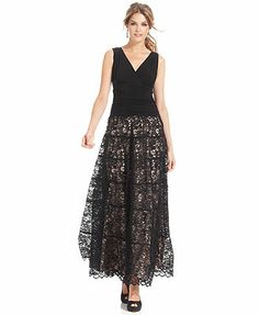 JR Nites Sleeveless Ruched Lace Gown Perhaps with a closed back? Like the lace overskirt
