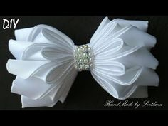 Бантик из ленты КАНЗАШИ  DIY Bows made of ribbon Kanzashi Laço de Cetim - YouTube