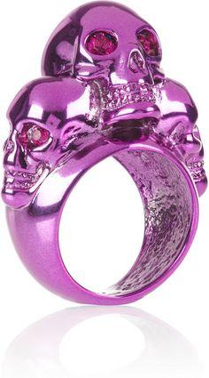 Alexander McQueen skull ring. Fuchsia metal. Swarovski crystals